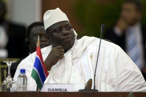 Gambia's President Al Hadji Yahya Jammeh attends the plenary session of the Africa-South America Summit on Margarita Island