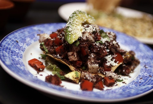 A dish that contains grasshoppers is seen at the Corazon de Maguey restaurant in Mexico City