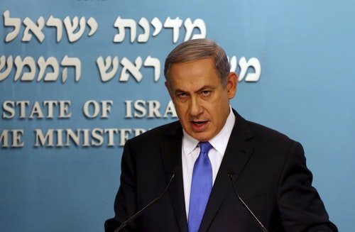 Israel's Prime Minister Netanyahu speaks during a news conference in Jerusalem