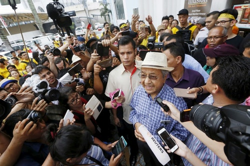 "Former Malaysian Prime Minister Mahathir Mohamad speaks to the media during a rally organised by pro-democracy group ""Bersih"" (Clean) in Malaysia's capital city of Kuala Lumpur"
