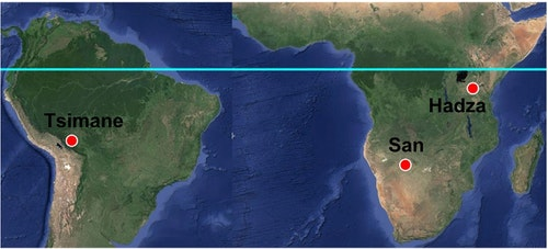 Location of study sites. Photo by Yetish et al., 2015, Current Biology
