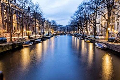 Netherlands, Holland, Amsterdam, Canal in the evening