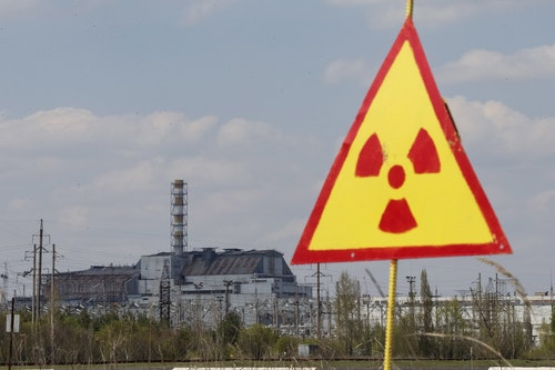 A general view shows of the sarcophagus covering the damaged fourth reactor at the Chernobyl nuclear power plant