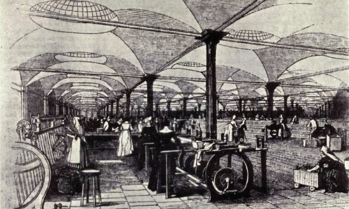 """Industrial Revolution 工業革命 Drawing of Marshall's Mills, Holbeck showing operators at their machines. From the Penny Magazine Supplement, December 1843 """"A Day at a Leeds Flax Mill""""."""