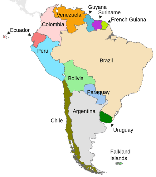 Political map of South America 南美洲地圖