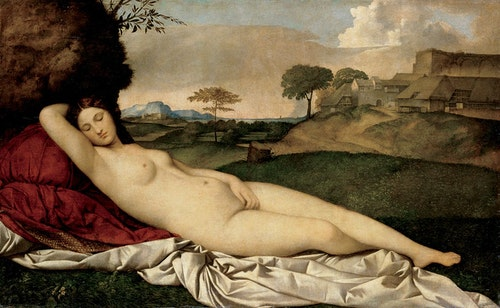 Titian (formerly attributed to Giorgione), Sleeping Venus