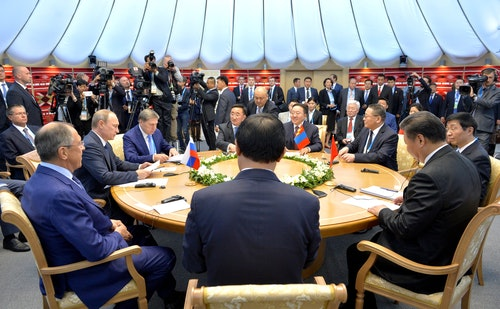 Russia Meeting with President of China Xi Jinping and President of Mongolia Tsakhiagiin Elbegdorj.
