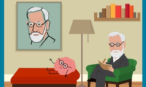 Freud is sitting on his green couch, analyzing a brain with glasses. Eps10 — Vector by bilhagolan