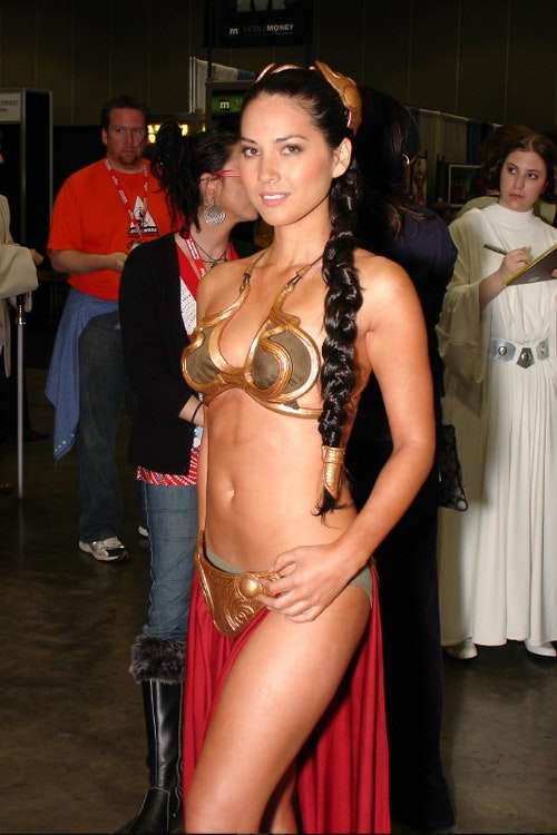 American television host Olivia Munn dressed as Princess Leia.