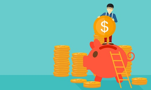 An asian man saving his money by putting a coin in a big piggy bank on a blue background vector flat design illustration. Horizontal layout.