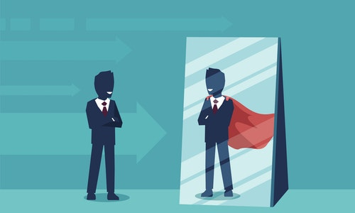 Vector of a motivated business man facing himself as a super hero in the mirror. Self confidence concept - 向量圖
