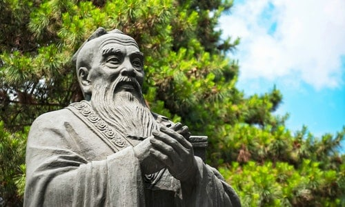 孔子 Statue of Confucius, located in Harbin Confucian Temple, Heilongjiang, China.