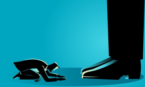 Business concept illustration of a businessman kneel down under giant feet. Concept for authority, dictator figure